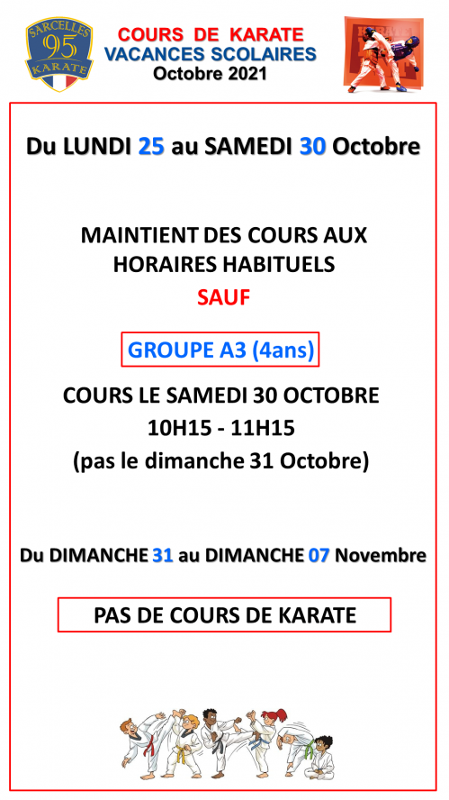 Aassk horaires cours vacances oct21 1